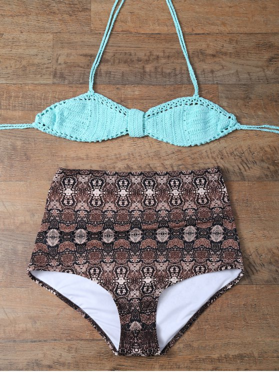 High Waisted Printed Knitted Multiway Bikini - COFFEE AND GREEN L Mobile