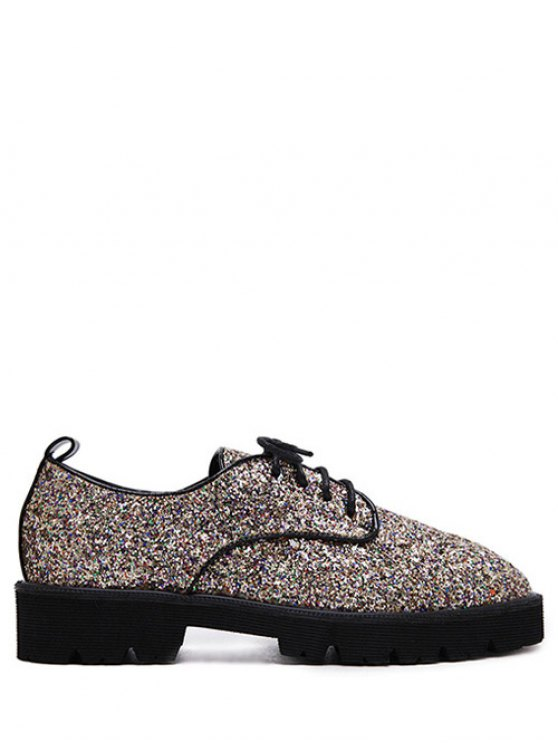 Lace Up Sequins Platform Shoes - GOLDEN 37 Mobile