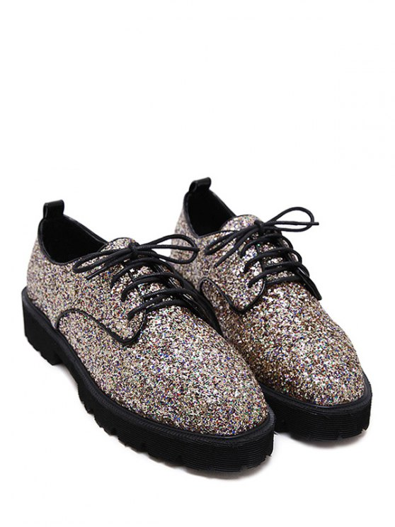 Lace Up Sequins Platform Shoes - GOLDEN 38 Mobile