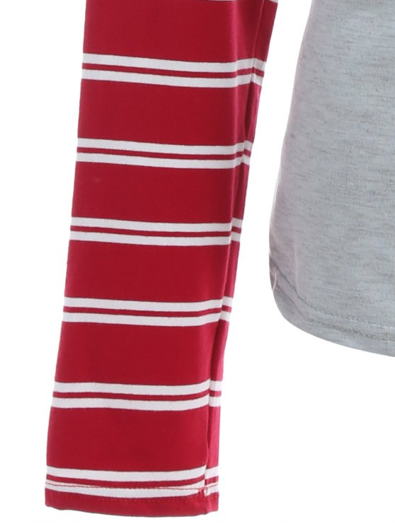 Striped Raglan Sleeve Christmas Tee - GRAY AND RED XL Mobile