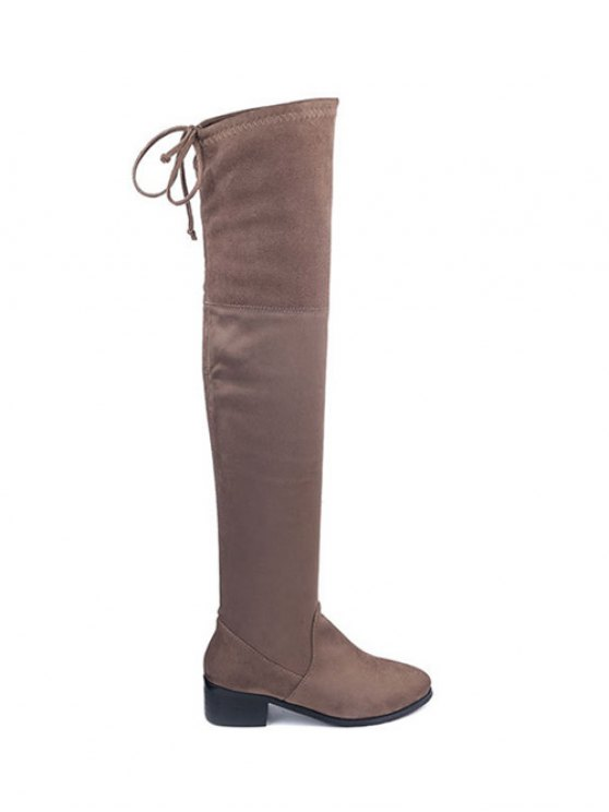 Flock Thigh High Boots - BROWN 37 Mobile