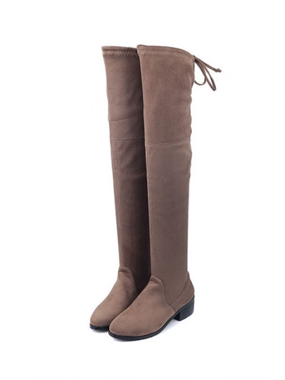 Flock Thigh High Boots - BROWN 40 Mobile