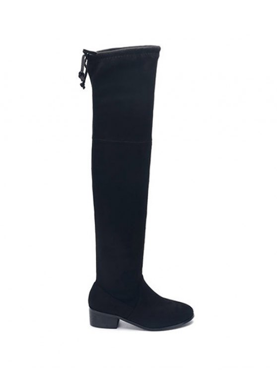 Flock Thigh High Boots - BLACK 39 Mobile
