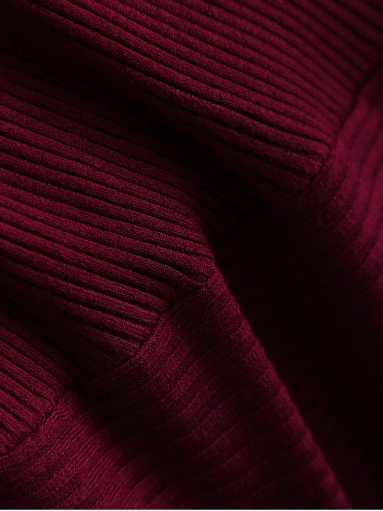 Ribbed Wrap Knittwear - WINE RED ONE SIZE Mobile