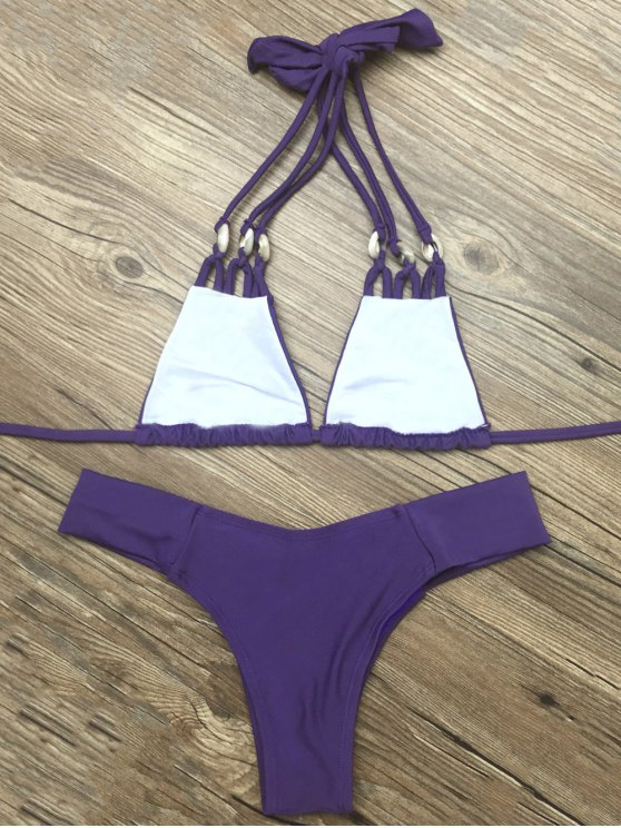 Strappy Halter Neck Plunge Bikini - DEEP PURPLE L Mobile