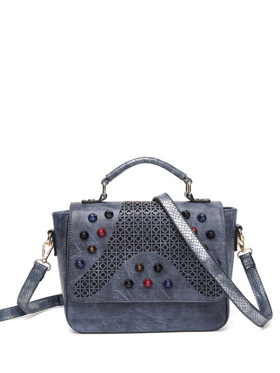 Colored Rivet Cut Out Handbag - GRAY  Mobile