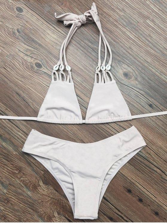 Halter Strappy Plunge Bikini - APRICOT XL Mobile