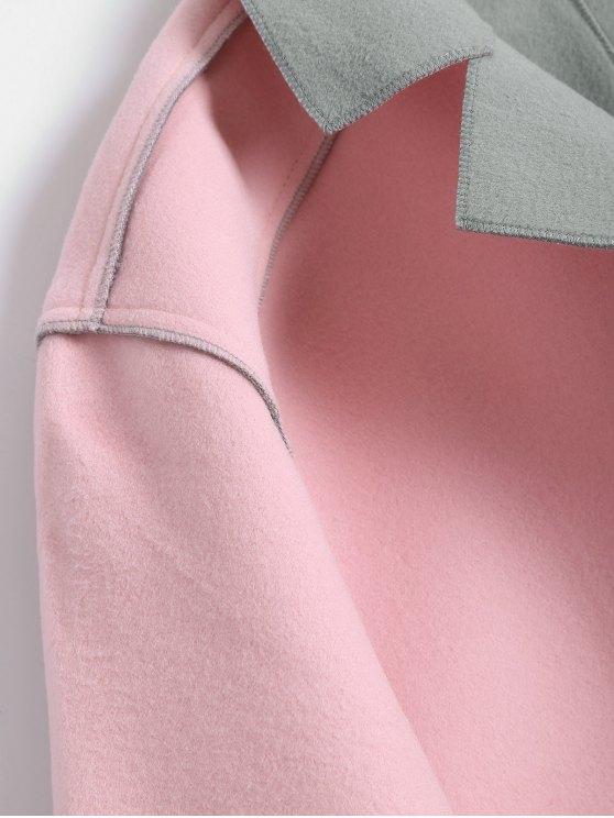 Plus Size Color Block Wool Blend Coat - LIGHT PINK 4XL Mobile