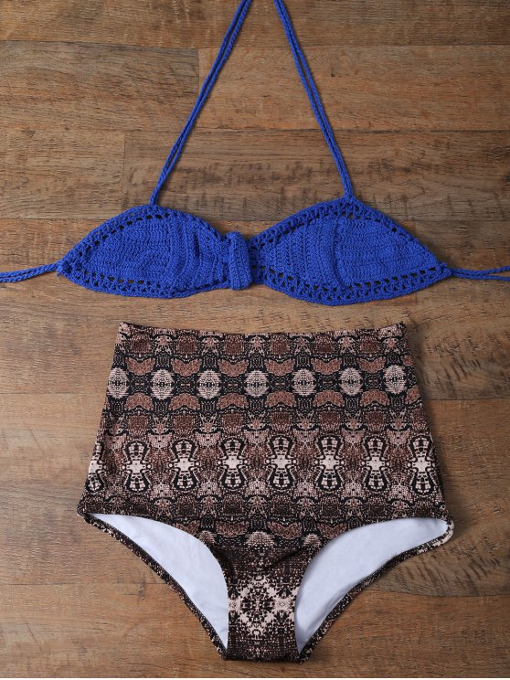 High Waisted Printed Knitted Bikini - MULTICOLOR M Mobile