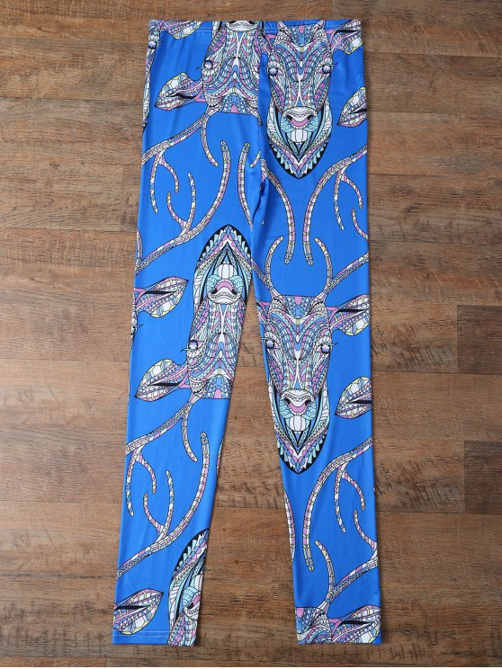 Cartoon Deer Leggings - BLUE L Mobile