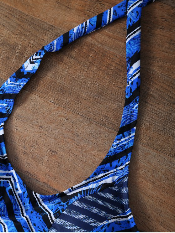 Zig Zag Leaf Print Halter Bikini - BLUE L Mobile