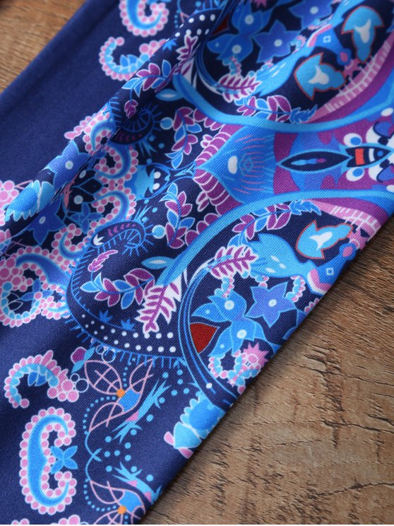 Flower Printed Leggings - CADETBLUE M Mobile