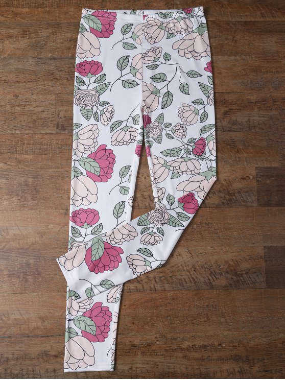 Slimming Floral Leggings - FLORAL M Mobile