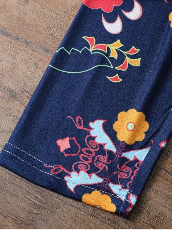 Slimming Tiny Floral Pattern Leggings - PURPLISH BLUE XL Mobile