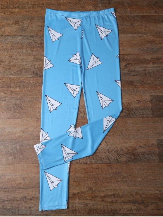 shop Paper Plane Print Leggings - OCEAN BLUE M