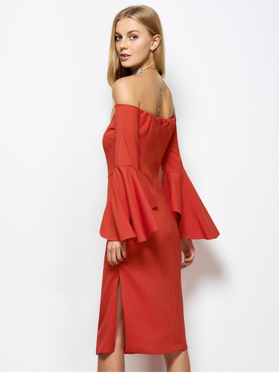 Off The Shoulder Slit Pencil Dress - RED S Mobile