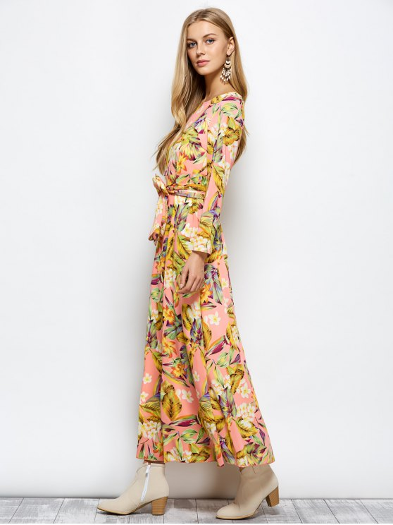 Long Sleeve Floral Print Belted Maxi Dress - FLORAL M Mobile