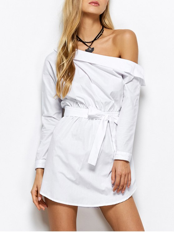 Belted One Shoulder Dress - WHITE XL Mobile