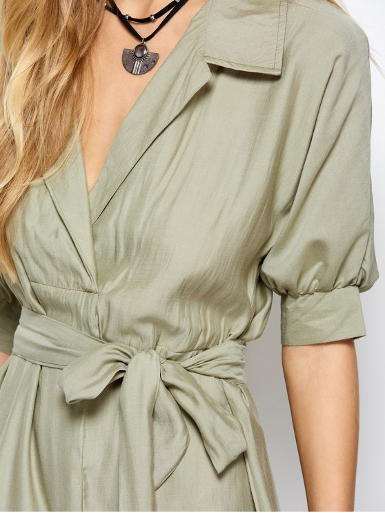 High Low Belted Surplice Shirt Dress - LIGHT GREEN M Mobile