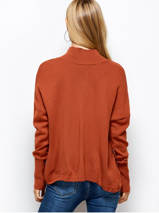 Turtleneck Crossover Hem Sweater - JACINTH M Mobile