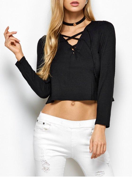 Cut Out T-Shirt - BLACK M Mobile