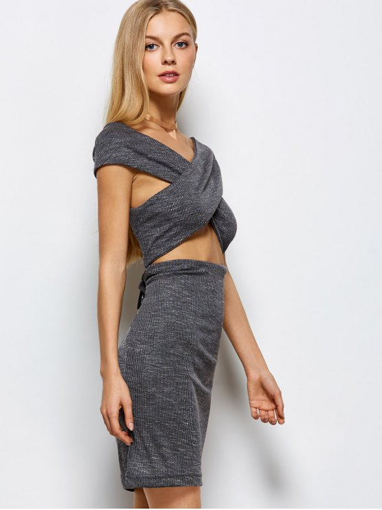 Heathered Wraped Sweater Dress - GRAY M Mobile