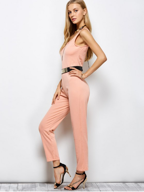 Half Zip Straight Jumpsuit - PINK L Mobile