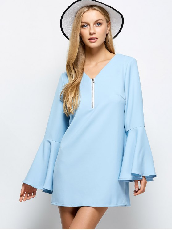 Flare Sleeve Fitting Mini Dress - LIGHT BLUE XL Mobile
