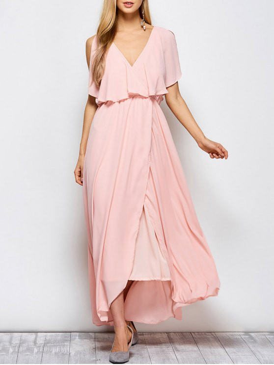 Ruffles Plunge Neck Popover Maxi Dress - PINK L Mobile