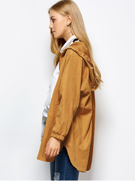 Hooded Zippered Coat - CAMEL L Mobile