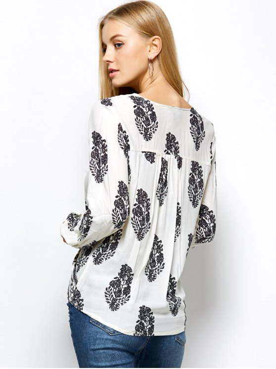 Retro Print Long Sleeve Wrap Peasant Blouse - WHITE M Mobile