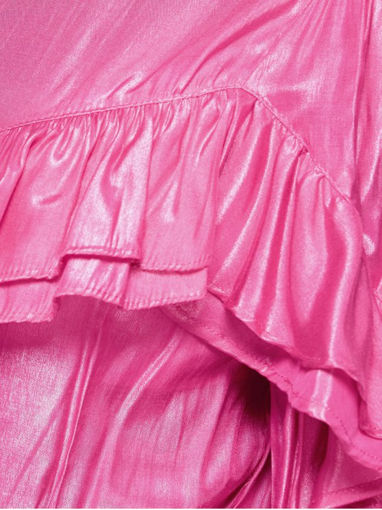 Stand Neck Ruffles Blouse - PINK M Mobile