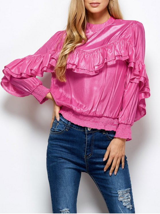 Stand Neck Ruffles Blouse - PINK L Mobile