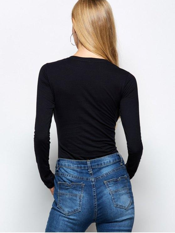 Long Sleeve Cat Print Bodysuit - BLACK 2XL Mobile