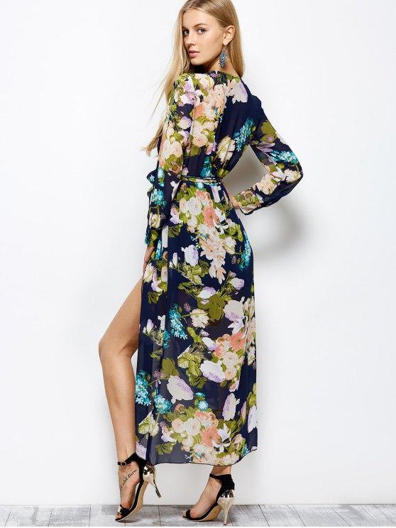 Long Sleeve Floral Maxi Dress with Slit - FLORAL L Mobile