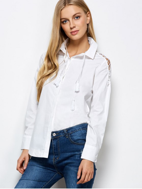 Strappy Sleeve Shirt - WHITE L Mobile