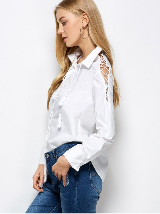 Strappy Sleeve Shirt - WHITE XL Mobile