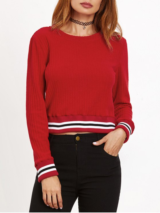 Ribbed Cropped Pullover Sweater - RED S Mobile