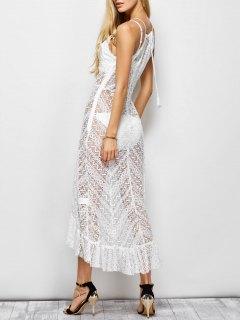 Ruffles See Through Maxi Cami Dress - White 2xl