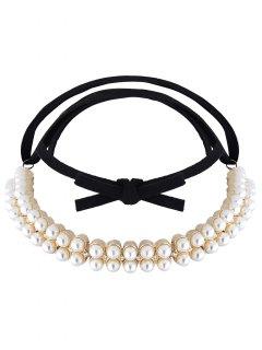 Velvet Fake Pearl Choker Necklace - Golden