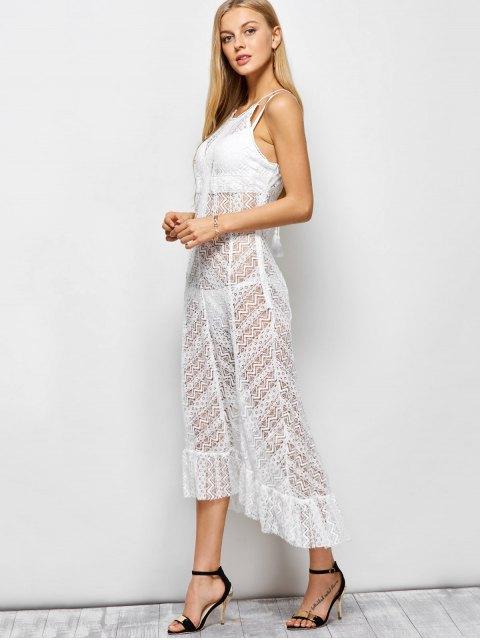 latest Ruffles See Through Maxi Cami Dress - WHITE XL Mobile