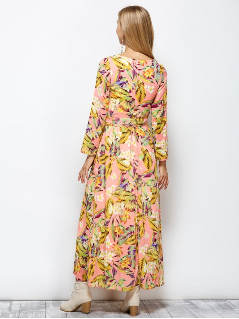 best Long Sleeve Floral Print Belted Maxi Dress - FLORAL 2XL Mobile