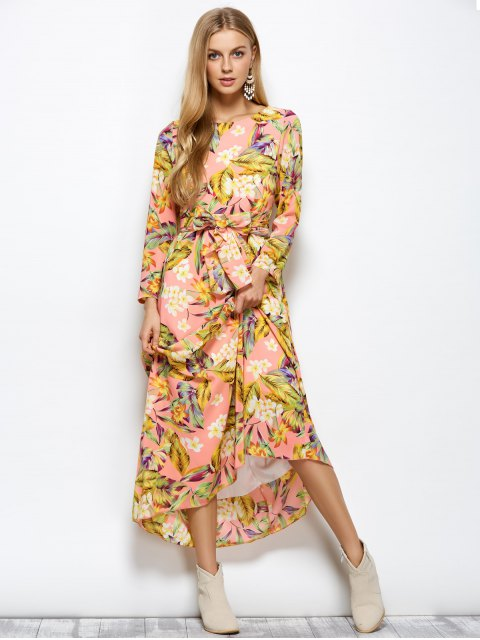 hot Long Sleeve Floral Print Belted Maxi Dress - FLORAL M Mobile
