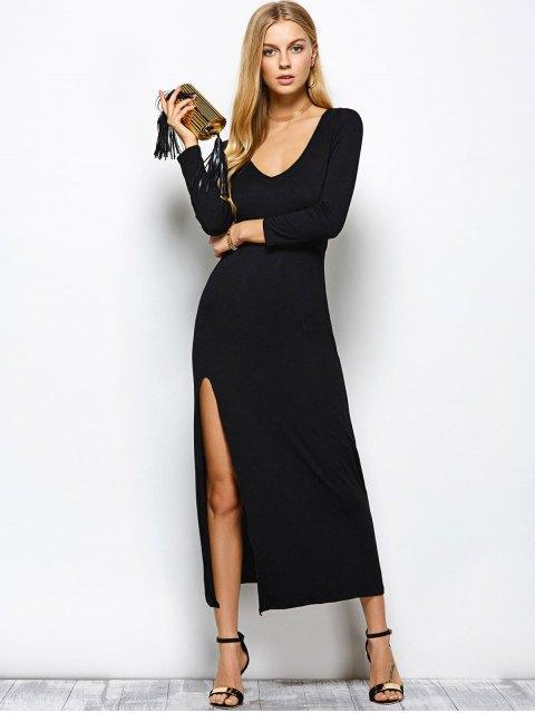 sale Plunge Neck Long Sleeve Maxi Dress with Slit - BLACK L Mobile