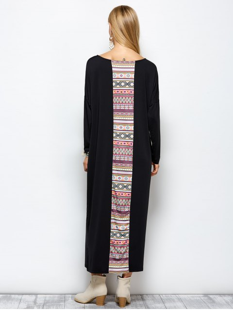 latest Batwing Sleeve Tribal Print Maxi Dress with Pocket - BLACK M Mobile