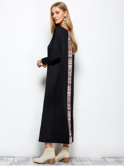 trendy Batwing Sleeve Tribal Print Maxi Dress with Pocket - BLACK S Mobile