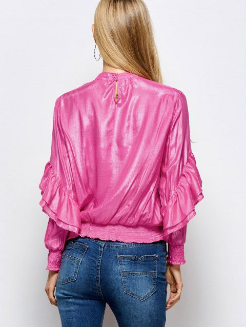 sale Stand Neck Ruffles Blouse - PINK 2XL Mobile