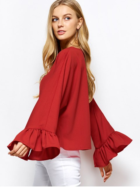 outfits Ruffles Dolman Sleeve Loose Blouse - RED 2XL Mobile