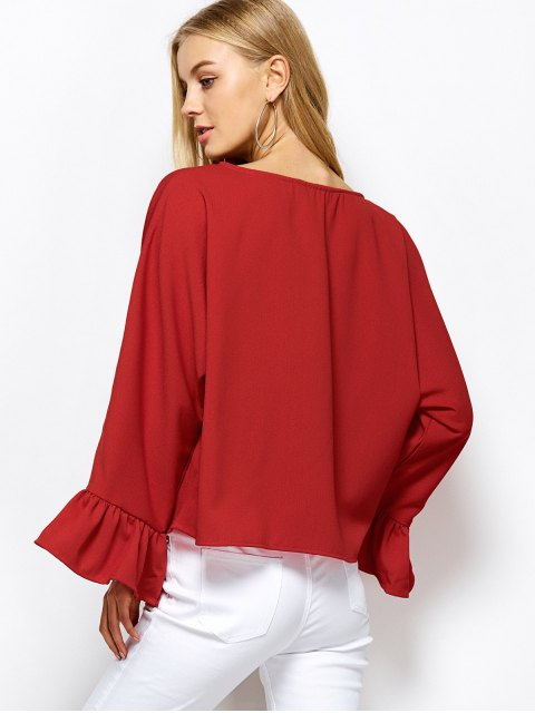 shop Ruffles Dolman Sleeve Loose Blouse - RED XL Mobile
