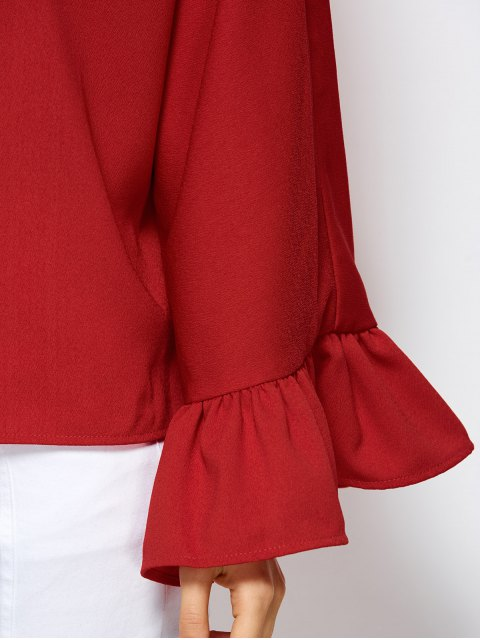 trendy Ruffles Dolman Sleeve Loose Blouse - RED S Mobile